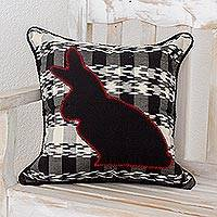 Cotton cushion cover, 'Black Rabbit' - Cotton cushion cover