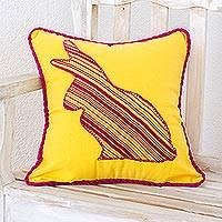 Cotton cushion cover, 'Yellow Rabbit' - Cotton cushion cover