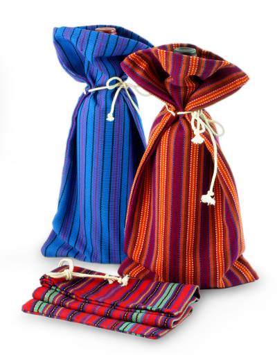 Cotton wine bottle bags, 'Cheers' (set of 3) - Colorful Handwoven Cotton Wine Bottle Bags (Set of 3)
