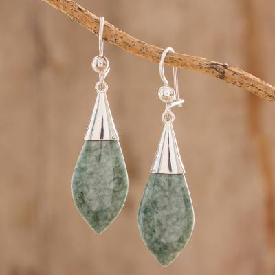 Jade dangle earrings, 'Maya Lance of Afterlife' - Handmade Jade Dangle Earrings