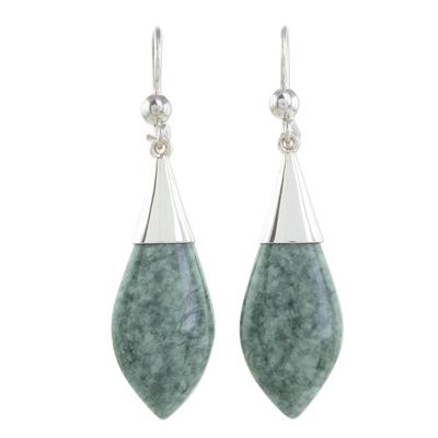 Jade dangle earrings, 'Maya Lance of Afterlife' - Handmade Jade Dangle Earrings