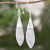 Jade dangle earrings, 'Maya Lance of Twilight' - Central American Modern Silver and Jade Dangle Earrings