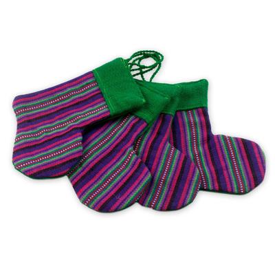 Cotton ornaments, 'Purple Stockings' (set of 4) - Cotton ornaments (Set of 4)