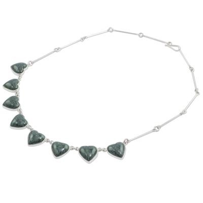 Jade heart necklace, 'Love Immemorial' - Jade heart necklace