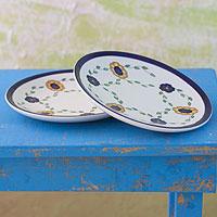 Ceramic dinner plates, 'Margarita' (pair) - Ceramic dinner plates (Pair)