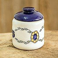 Ceramic sugar bowl, 'Margarita' - Hand Painted Floral Ceramic Sugar Bowl