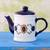 Ceramic tea pot, 'Margarita Blue' - Floral Ceramic Painted Teapot thumbail