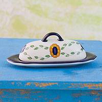 Ceramic butter dish, 'Margarita' - Handpainted Floral Ceramic Butter Dish