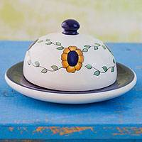 Ceramic cheese plate, 'Margarita' - Hand Painted Floral Ceramic Serving Plate with Lid