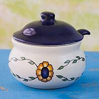 Ceramic sugar bowl with spoon, 'Margarita' - Hand Painted Floral Ceramic Sugar Bowl and Spoon