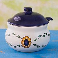 Ceramic sugar bowl with spoon, 'Margarita' - Hand Painted Floral Ceramic Sugar Bowl and Spoon