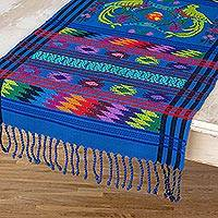 Cotton table runner, 'Quetzal Heaven' - Handcrafted Multi-Colored Guatemalan Cotton Table Runner