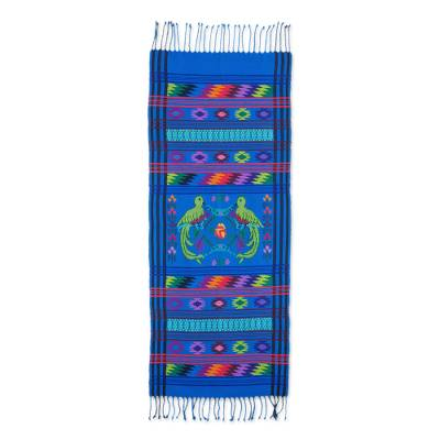 Cotton table runner, 'Quetzal Heaven' - Cotton table runner
