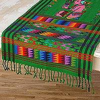 Cotton table runner, 'Maya Maize God' - Cotton table runner