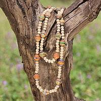 Wood and recycled paper necklace, 'Eco in Orange' - Wood and Recycled Paper Bead Necklace from Central America