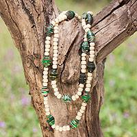 Wood and recycled paper necklace, 'Eco in Green' - Hand Made Recycled Paper Beaded Necklace