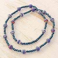 Wood and recycled paper necklace, 'Eco in Blue' - Wood and Recycled Paper Long Beaded Necklace