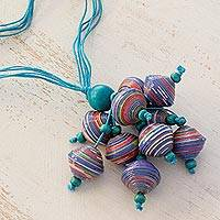 Wood and recycled paper pendant necklace, 'Playful Blue' - Wood and recycled paper pendant necklace