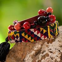 Leather and cotton wrap bracelet, 'Festive Guatemala' - Handmade Cotton and Leather Wrap Bracelet