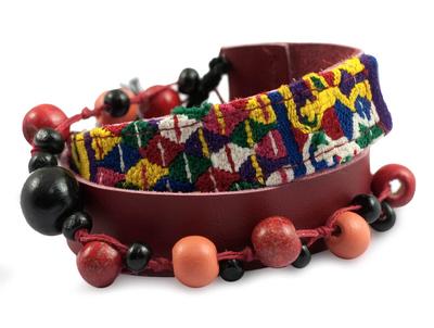 Leather and cotton wrap bracelet, 'Festive Guatemala' - Handmade Cotton and Leather Wrap Bracelet
