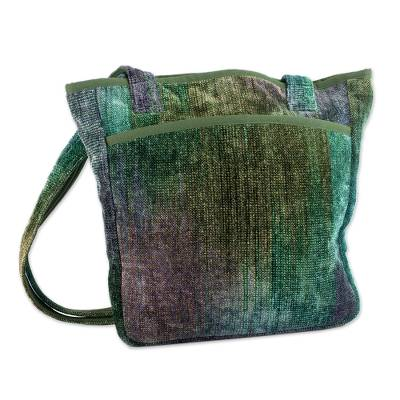 Novica Bamboo chenille shoulder bag, Magic Forest - Hand Made Bamboo Chenille Shoulder Bag
