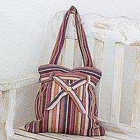 Cotton shoulder bag, 'Maya Mahogany' - Cotton shoulder bag