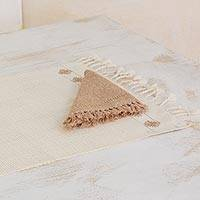 Cotton placemats and napkins, 'Ivory Mesh' (set for 4)