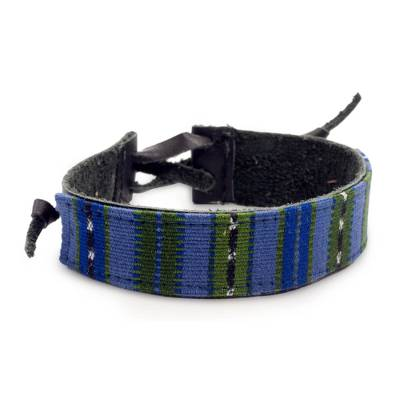 Men's leather and cotton wristband bracelet, 'Under the Mayan Sky' - Men's Leather Cotton Wristband Bracelet