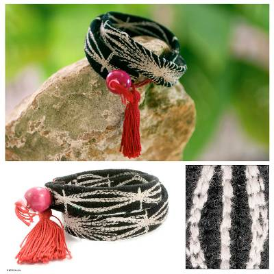 Novica Wool and cotton wrap bracelet, Mystic Tikal