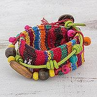 Leather accent cotton wrap bracelet, 'Joy and Prosperity' - Wood Beaded Cotton Wrap Bracelet