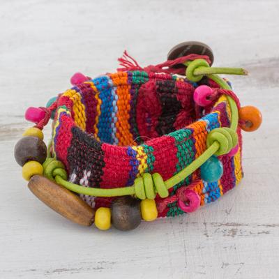 Leather accent cotton wrap bracelet, 'Joy and Prosperity' - Wood Beaded Cotton Wrap Bracelet