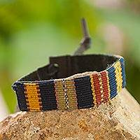 Men's leather and cotton wristband bracelet, 'Land of the Maya'