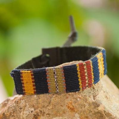 Men's leather and cotton wristband bracelet, 'Land of the Maya' - Men's Cotton and Leather Bracelet