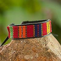 Men's leather and cotton wristband bracelet, 'Maya Toucan' - Hand Crafted Cotton Leather Wristband Bracelet