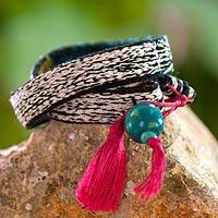 Wool and cotton wrap bracelet, 'Maya Hummingbird' - Handwoven Wool Wrap Bracelet