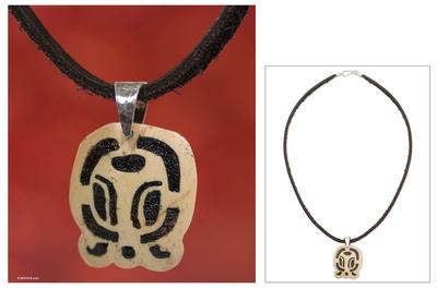 Men's volcanic ash pendant necklace, 'B'atz' - Men's Nahual Leather Coconut Shell Pendant Necklace