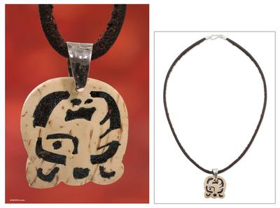 Men's volcanic ash pendant necklace, 'Kej' - Fair Trade Coconut Shell Sterling Silver Pendant Necklace