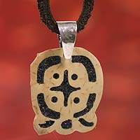 Men's volcanic ash pendant necklace, 'Q'anil' - Collectible Central American Men's Coconut Shell Jewelry