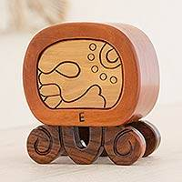 Mahogany and cypress wood puzzle box, 'Maya Destiny' - Unique Wood Puzzle Decorative Box