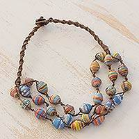 Recycled paper and cotton beaded necklace, 'Colorful Illusion'