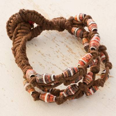 Recycled paper and cotton beaded bracelet, 'Earth's Warmth' - Artisan jewellery Bracelet with Recycled Paper Beads