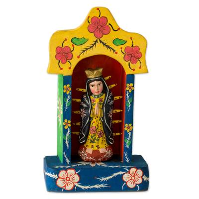 Wood sculpture, 'Shrine to Our Lady of Guadalupe' - Central American Christianity Wood Sculpture