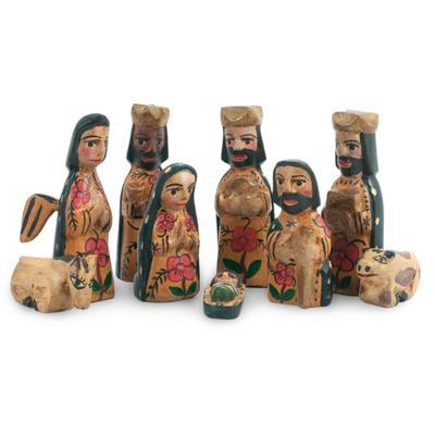Handcrafted 9 Piece Nativity Scene Set