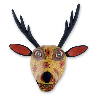 Wood mask, 'Yellow Maya Deer' - Handcrafted Wood Animal Decor Mask