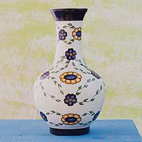 Ceramic vase, 'Margarita Daisy Grace' - Guatemalan Handcrafted Floral Ceramic Vase