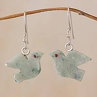 Jade dangle earrings, 'Light Green Swallows' - Jade dangle earrings