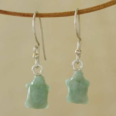 Jade dangle earrings, 'Green Turtle' - Jade Dangle Turtle Earrings from Central America