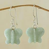 Jade dangle earrings, 'Green Butterfly' - Jade dangle earrings