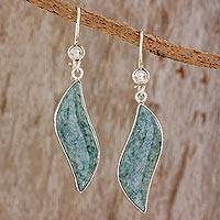 Jade dangle earrings, 'Floating in the Breeze' - Sterling Silver Handcrafted Jade Dangle Earrings