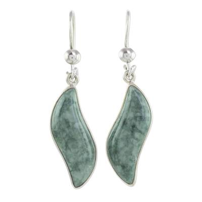 Jade dangle earrings, 'Floating in the Breeze' - Modern Sterling Silver Dangle Jade Earrings